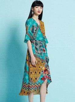 Bohemian Floral Print V-neck Holiday Irregular Skater Dress