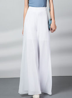 Solid Color High Waisted Chiffon Wide Leg Pants