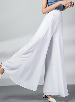 Brief Solid Color High Waist Chiffon Wide Leg Pants