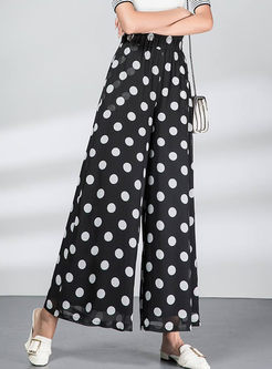 Stylish Elastic High Waist Polka Dot Chiffon Pants