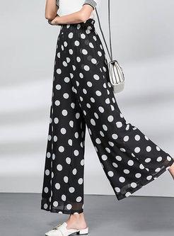 Stylish Elastic High Waist Polka Dot Chiffon Pants