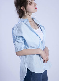 Casual Lapel Single-breasted Cotton Blouse