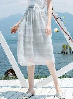Mesh Splicing Elastic Waist Layered Skirt