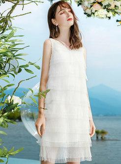 Sweet V-neck Sleeveless Layered Mini Dress