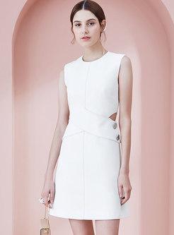 Elegant O-neck Sleeveless Hollow Out Mini Dress