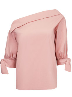 Trendy Slash Neck Bowknot Pullover Top