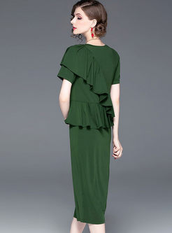 O-neck Short Sleeve Solid Color Falbala Slim Dress