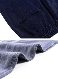 Loose Deep Blue High Waist Straight Pants