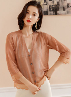 Brief V-neck Knitted Thin Zip-up Cardigan
