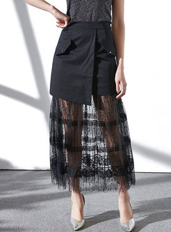 Sexy Mesh See-though Splicing Sheath Skirt