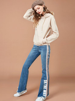 Letter High Waist Slim Rough Selvedge Jeans