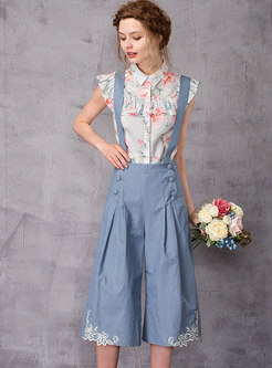 Lace Embroidered Knee-length Casual Overalls