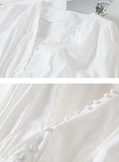 Stylish V-neck Lantern Sleeve Waist Blouse