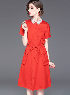 Elegant Red Color-blocked Lapel Shirt Dress