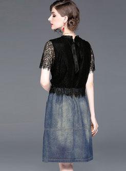 Trendy Short Sleeve Lace Splicing Denim Skater Dress