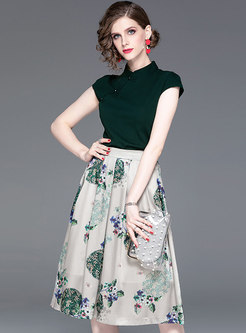 Solid Color Mandarin Collar Top & Print Skirt