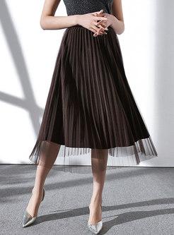 High Waist Velvet Mesh Splicing Midi Skirt
