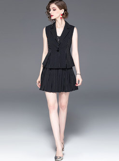 Elegant Striped Notched Slim Top & Mini Skirt