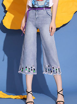 Stylish High Waist Sequined Rough Selvage Pants