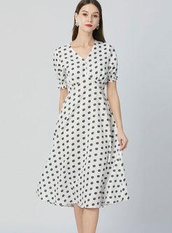 V-neck Lantern Short Sleeve Print High Waist Dress