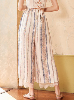 Stylish High Waist Chiffon Lace Splicing Tied Wide Leg Pants