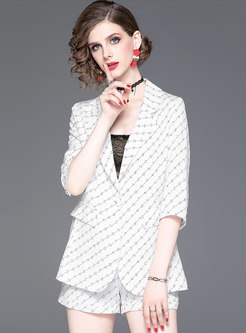 Brief Lapel White Print Striped Two-piece Outfits