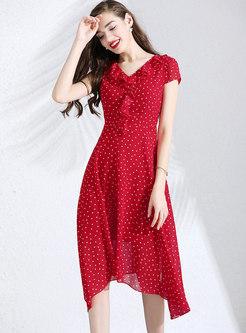 Fashion Polka Dot V-neck Falbala Skater Dress