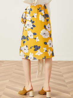 Stylish Print Tied Slit Skirt