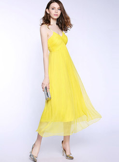 Stylish V-neck High Waist Maxi Slip Dress