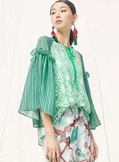 V-neck Long Sleeve Stripe Print Pullover Blouse