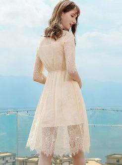 Sweet O-neck Half Sleeve Lace Skater Dress