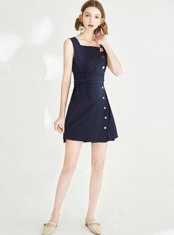 Vintage Backless Gathered Waist Slip A Line Dress