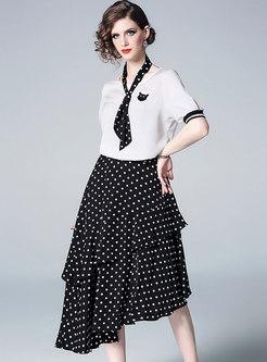 Brief O-neck Splicing T-shirt & Polka Dot Irregular Skirt