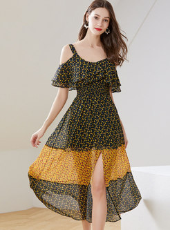 Floral Off Shoulder Elastic Waist Slit Skater Dress
