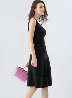 O-neck Sleeveless Black Slim Knitted A Line Dress