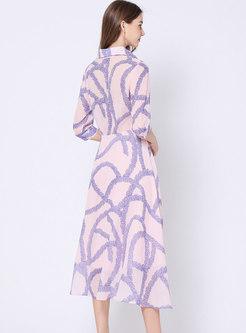 Elegant Print Lapel Tie-waist A Line Dress