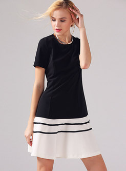 Crew Neck Short Sleeve A Line Mini Dress