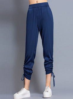 Solid Color Tied High Waist Silk Harem Pants