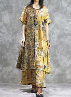 Ethnic O-neck Loose Shift Dress & Wide Leg Pants