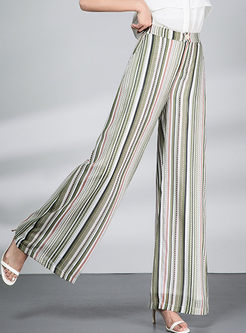 Stylish Striped High Waisted Chiffon Wide Leg Pants