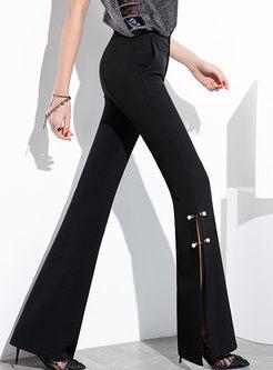Solid Color Beaded Slim Slit Flare Pants