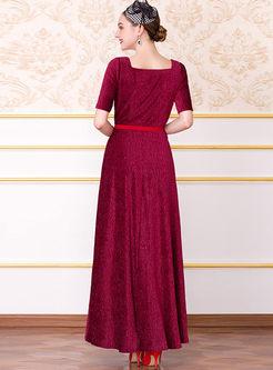 Elegant Square Neck Short Sleeve Big Hem Dress