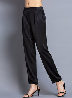 Brief Silk Casual High Waist Straight Pants