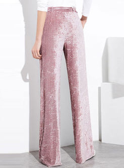 Stylish Tie-Waist Plus Size Elastic Wide Leg Pants