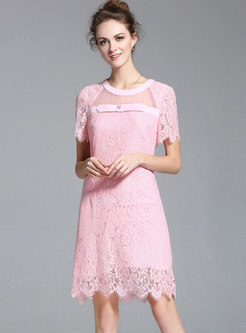 Lace Splicing Pink Perspective Sheath Dress
