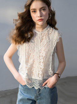Lace Sleeveless White Hollow Out Sweet Top With Cami