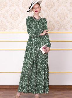 Fashion Lantern Sleeve Big Hem Print Chiffon Dress