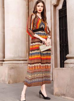 Color-blocked Three Quarters Sleeve Stripe Silk Dress