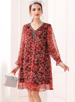 Retro Lantern Sleeve Beaded Floral Chiffon Dress