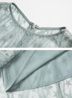 Solid Color Lace High Waist Retro A Line Dress